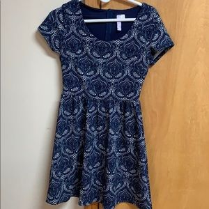 Alta blue short sleeve mini dress